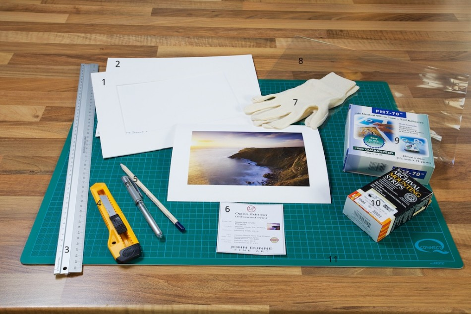 An image showing all the materials required for the proper archival mounting of a fine art photographic print from John Dunne Photography