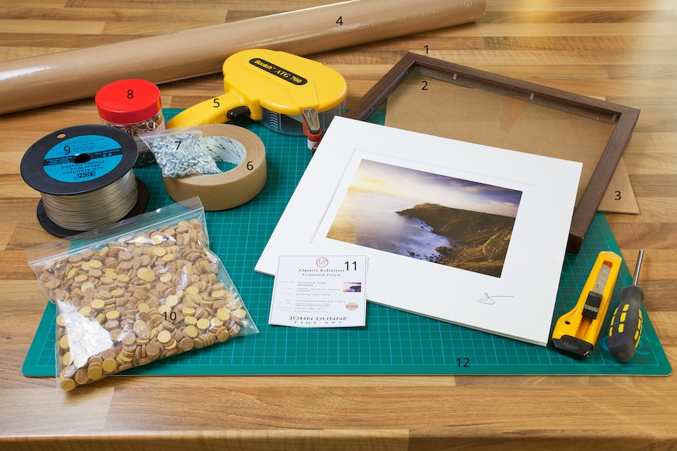 An image of the materials required to frame a Fine Art Print from John Dunne Photography